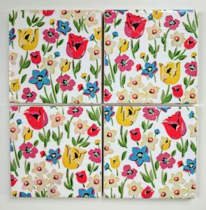 4 Ceramic Coasters in Cath Kidston Paradise Fields